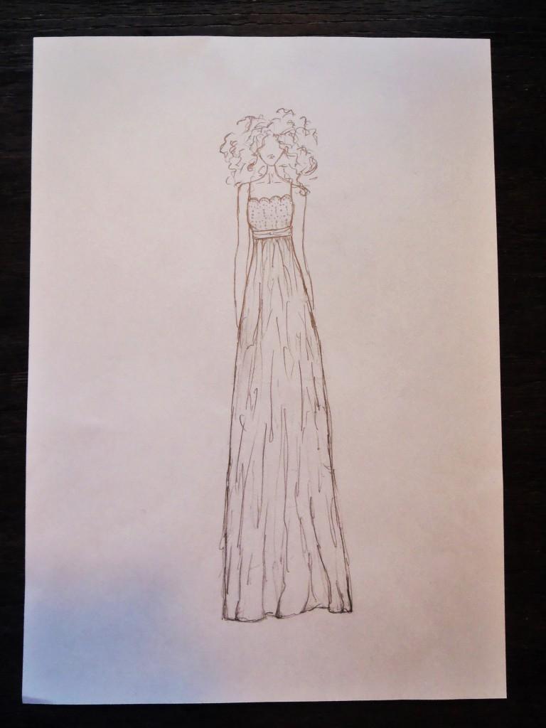 Brudekjole tegning